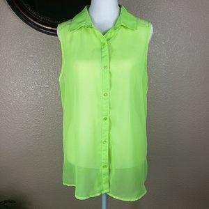 No Boundaries neon green sheer sleeveless blouse